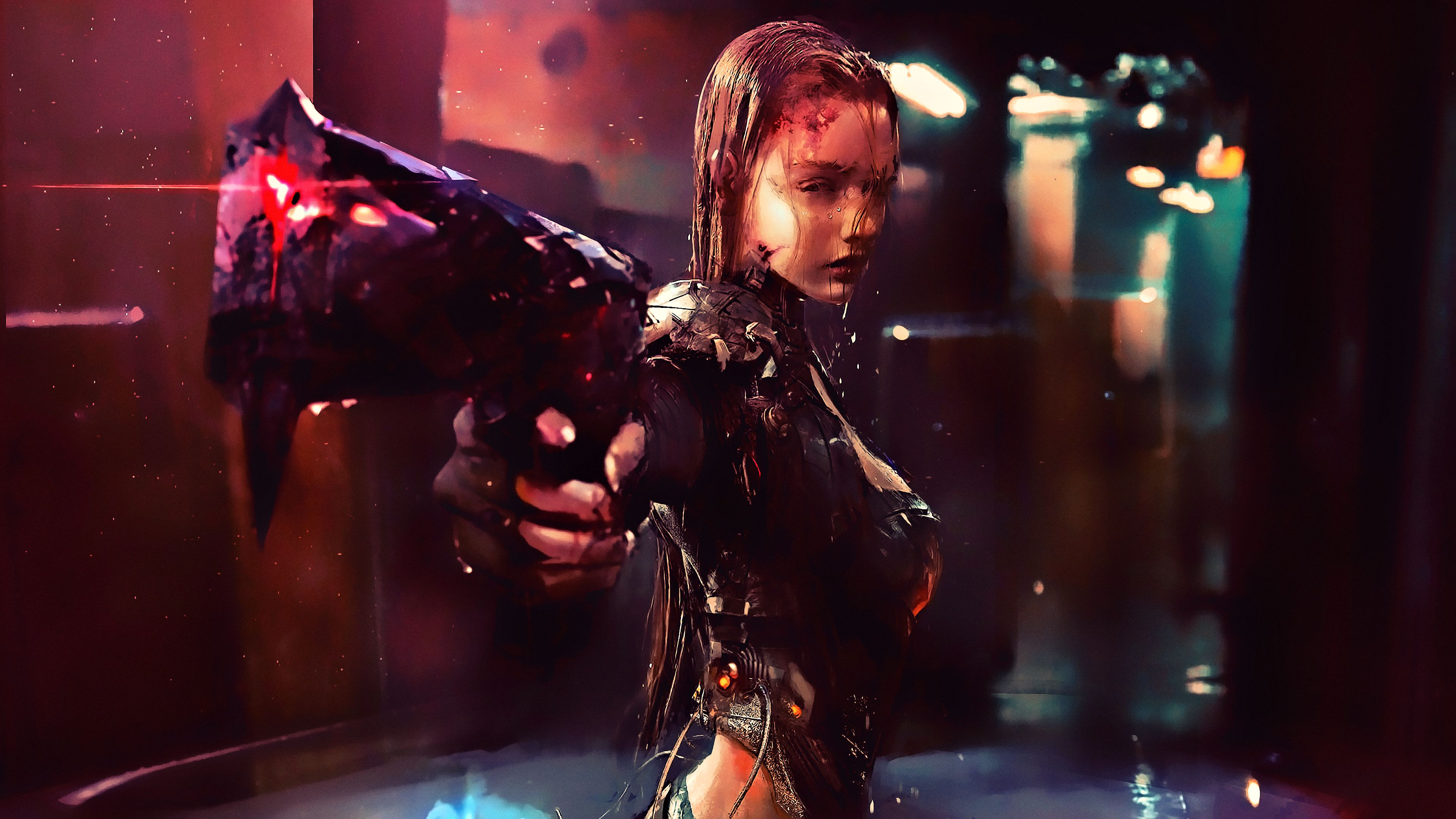 Warrior Girl Cyberpunk Futuristic Artwork Scifi Wallpapers Hd Wallpapers Digital Art Wallpapers Cyberpunk Wallpapers In 2020 Futuristic City Cyberpunk Hd Wallpaper