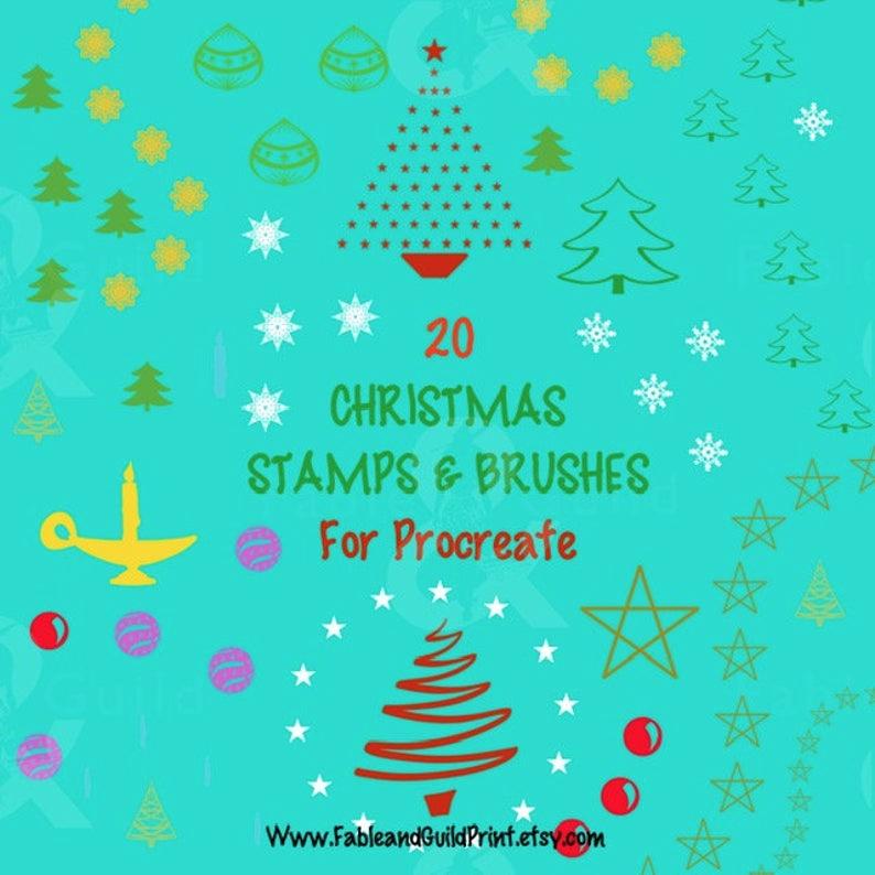 Procreate Christmas Bundle Christmas Bundle Hand Drawn Stamp Glam Christmas