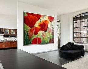 Red poppy painting by Miri Lavee. I love painting poppies, the lively red, the green field, the sunlight- are all on my canvas in beautiful harmony that illuminate the room and stimulates energetic vibes of joy and well-being. For the painting in my Etsy shop, Click on the photo or copy the link: https://www.etsy.com/MiriLaveeArt/listing/533766208/listing Also available as a fine art print, here: https://www.etsy.com/MiriLaveeArt/listing/547798849/listing #mirilavee #oilpainting…