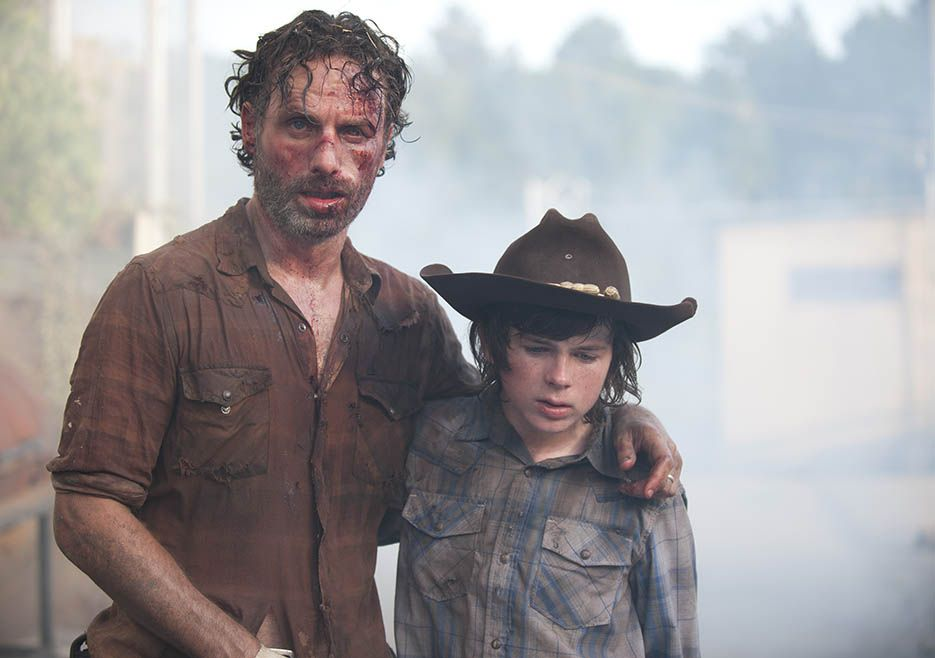 Rick Grimes (Andrew Lincoln) and Carl Grimes (Chandler Riggs) in Episode 408…