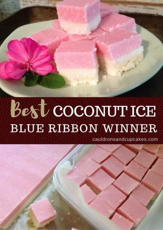 Coconut Ice Recipe Blue Ribbon Slice The Whoot Icee Recipe Coconut Ice Recipe Coconut Recipes