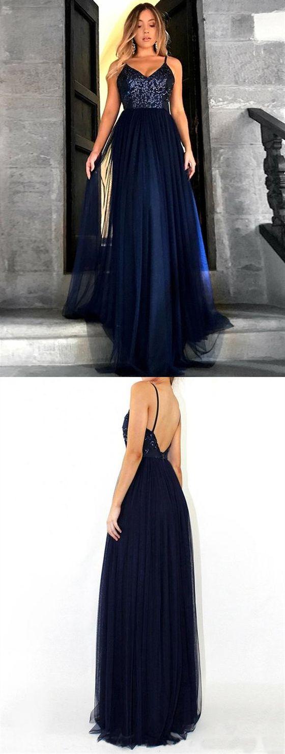 97d86ba0391 Navy Blue V Neck Sleeveless Sequin Prom Dresses Backless Evening Dresses   promdress  prom  dress  dresses  promdresses