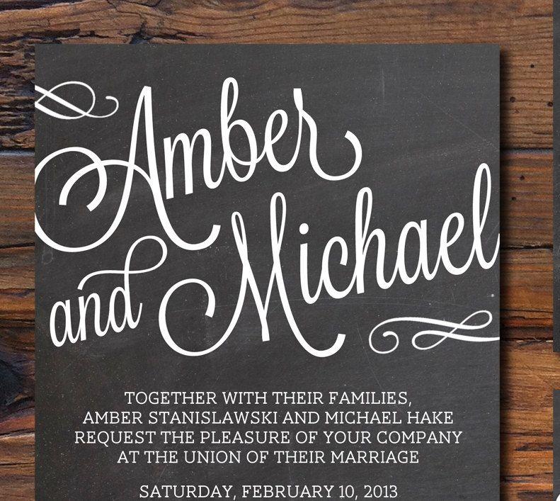 Chalkboard Style Wedding Invitations 100 00 Via Etsy