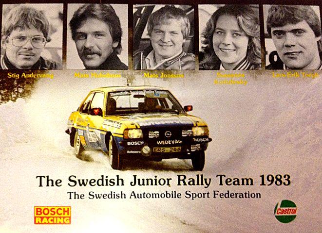 The Swedish Junior Rally Team 1983: Stig Andervang, Mats Holmbom, Mats Jonsson, Susanne Kottulinsky, and Lars-Erik Thorp.