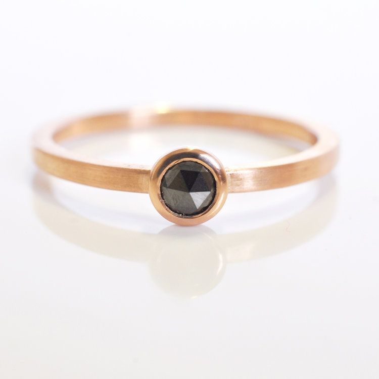 black diamond alternative engagement ring 14k red rose pink gold