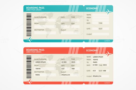 Airline Ticket Template Word Simple Vector Airplane Tickets  Pinterest  Airplanes