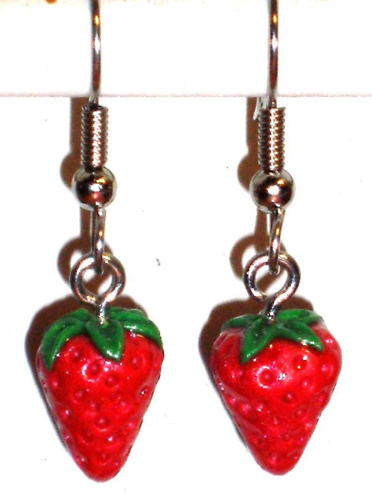 Ohrringe Erdbeere Frucht Obst Damen Ohrschmuck Hänger Modeschmuck Durchzieher