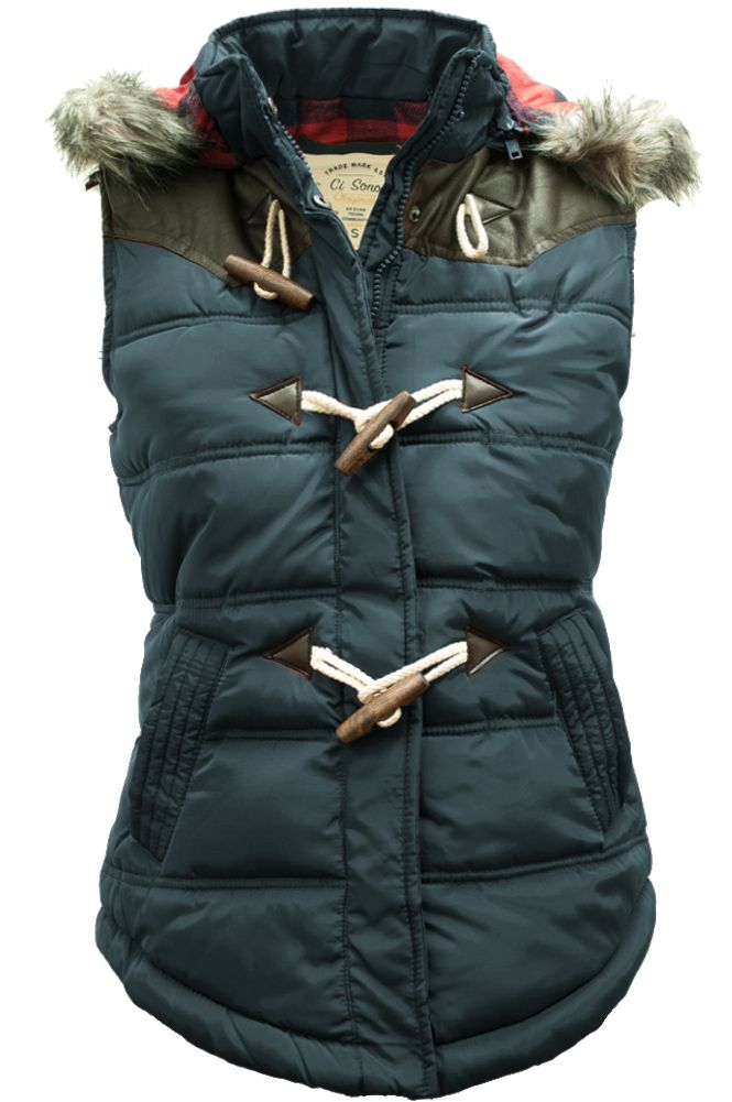 138df9c63 Cozy hooded toggle vest with plaid flannel lining. Will be your go ...