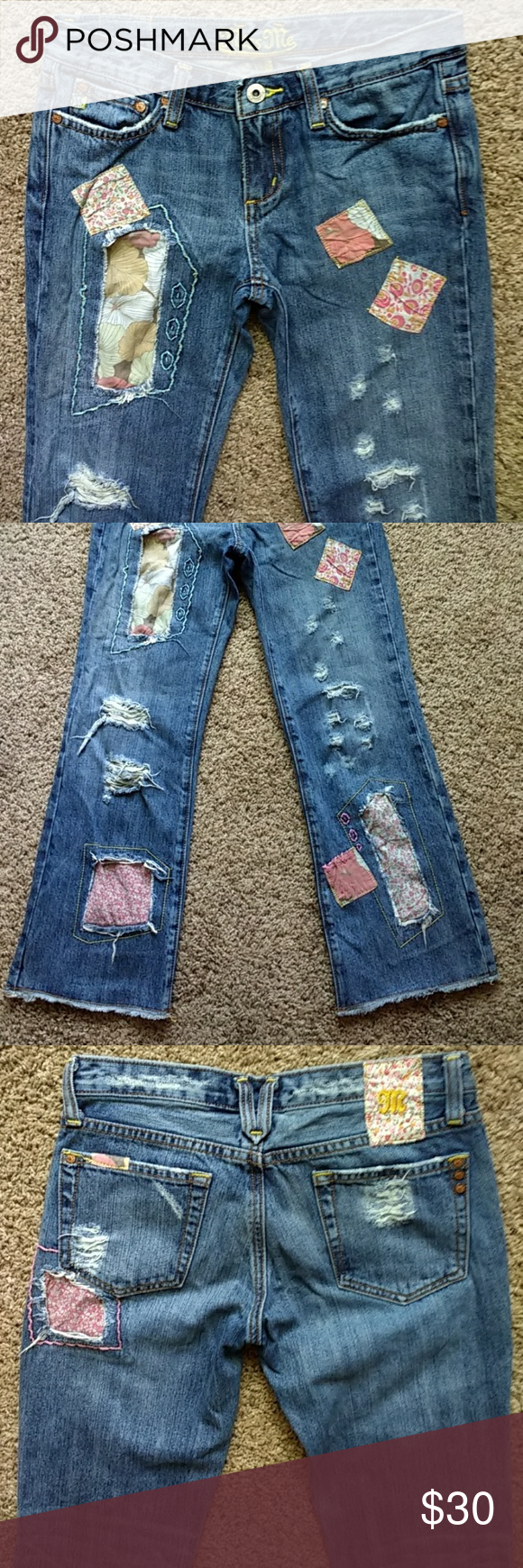 e5a6f34e7ac Miss Me Capri Jeans. Unique style Medium wash 100 percent cotton denim  Capri style jeans semi distressed design with patchwork design behind the  distressed ...
