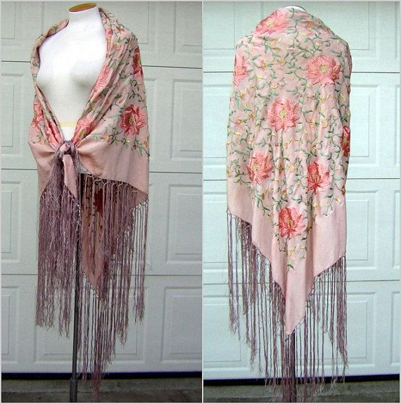 Vintage Antique Pink Silk Piano Shawl - Embroidered - Lotus Peony Design - Long…