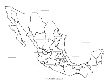 This printable map of Mexico has blank lines on which