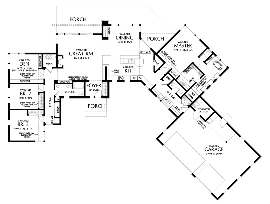 Main Floor Plan Image For Mascord Salt Lake Expansive Spaces Great For Acreage Or View Lots Main Floor Plan Contemporary House Plans House Plans Floor Plans