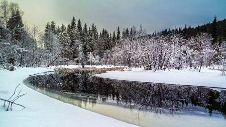 河川の風景は素晴らしい冬 河川 自然 高解像度で壁紙