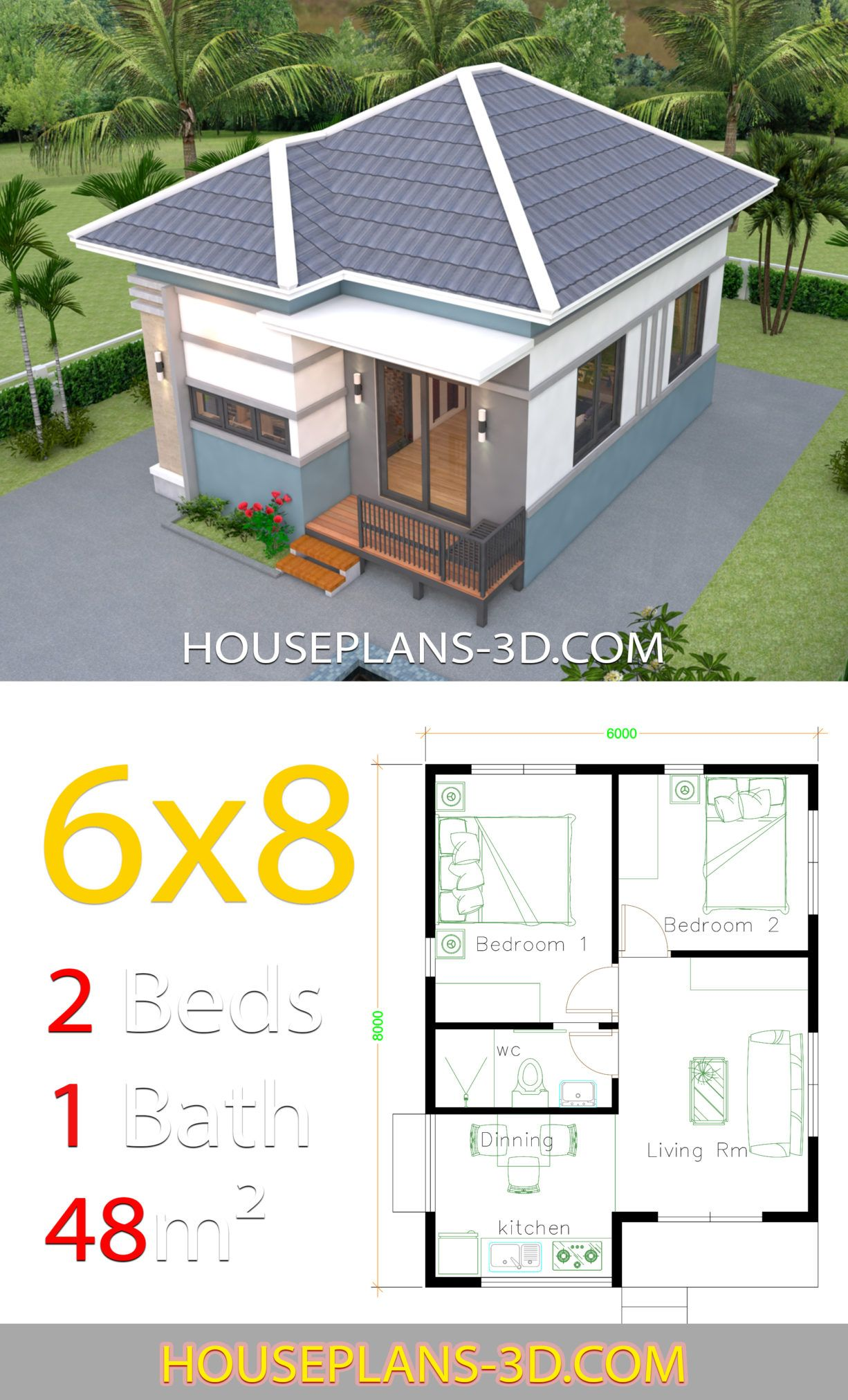 House Design 6x8 with 2 Bedrooms Hip roof - House Plans 3D ...