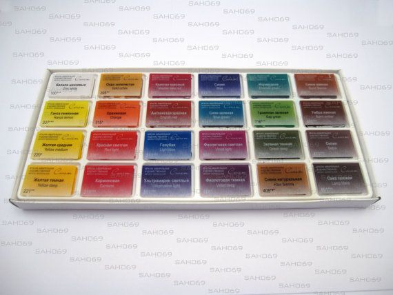 24 Sonnet Studio Watercolours Paint Set By Russianartmaterials