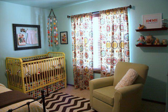 Love this yellow crib and DIY dot mobile!