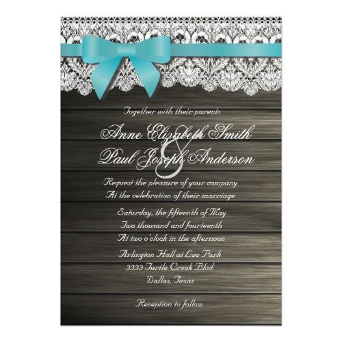 Shop Teal Bow Barn Wood And Lace Wedding Invitations Created By Rusticwedding