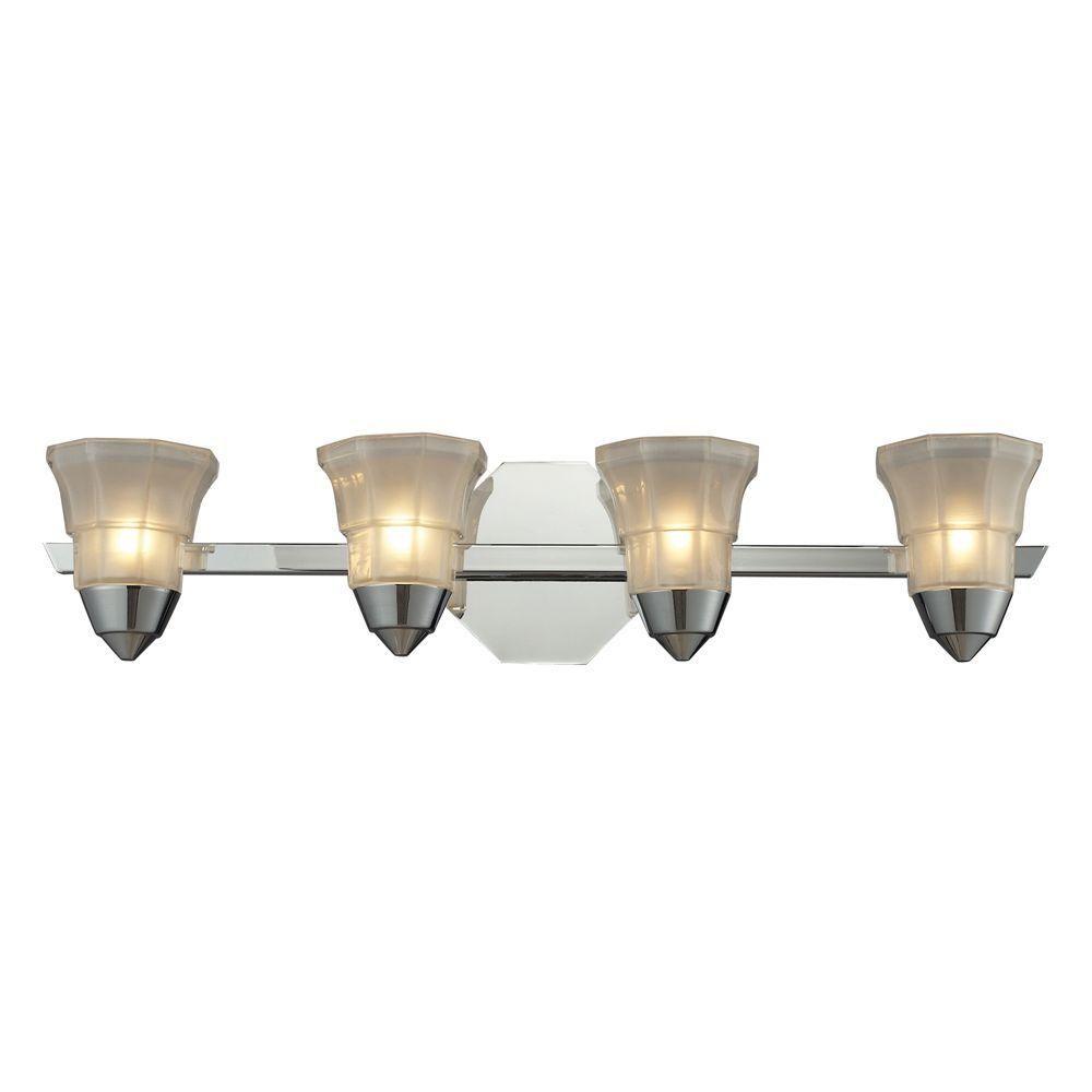 Titan lighting deco light polished chrome wall mount bath bar