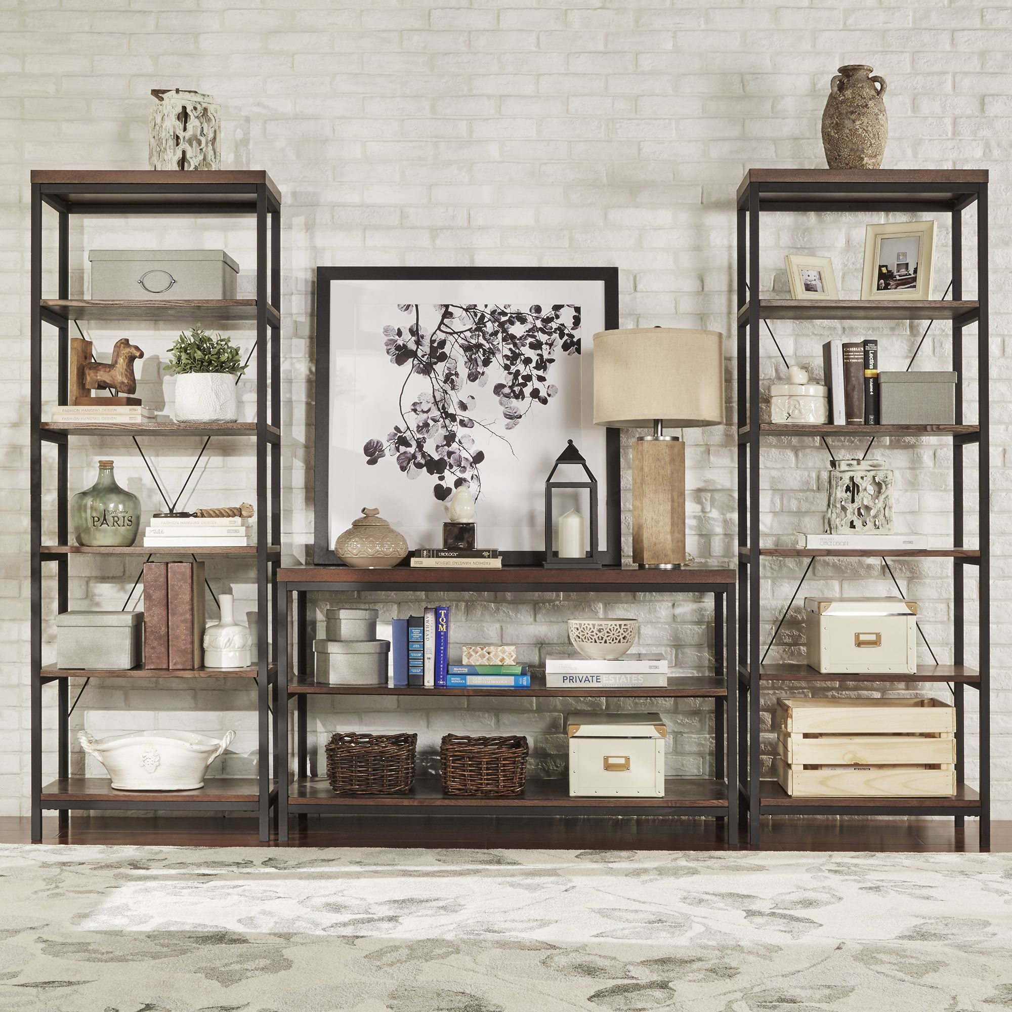 Tribecca Home Somme Rustic Metal Frame 6 Tier Bookshelf Media Tower