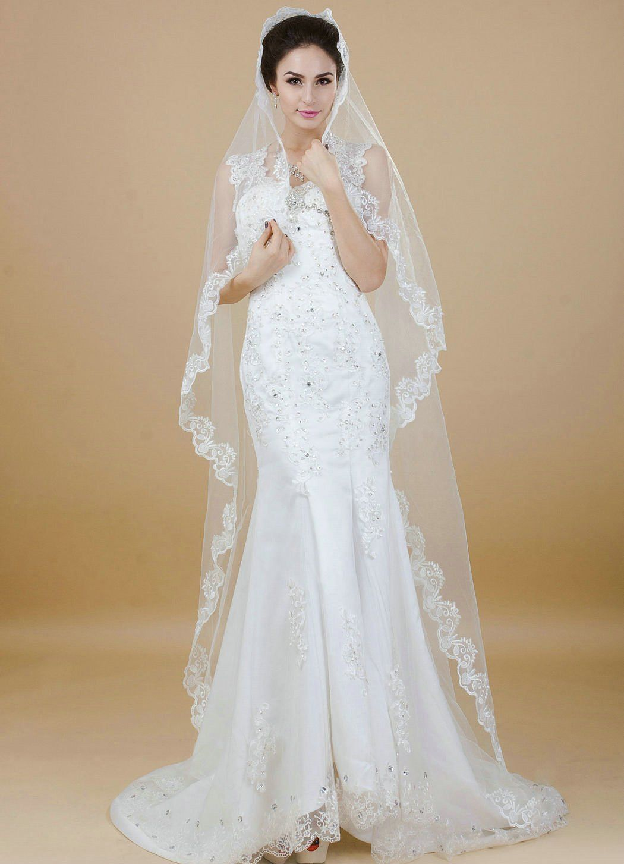 Nero Vintage Wedding Veil with Lace Edge, Fashion Bridal
