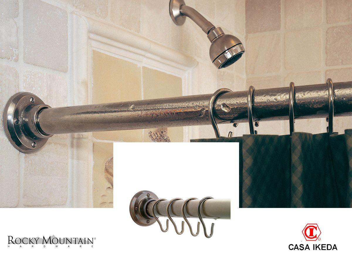 Barra para cortina de ducha con soportes y ganchos acabado en bronce peso 7lb por pie 96 - Soportes para cortinas ...