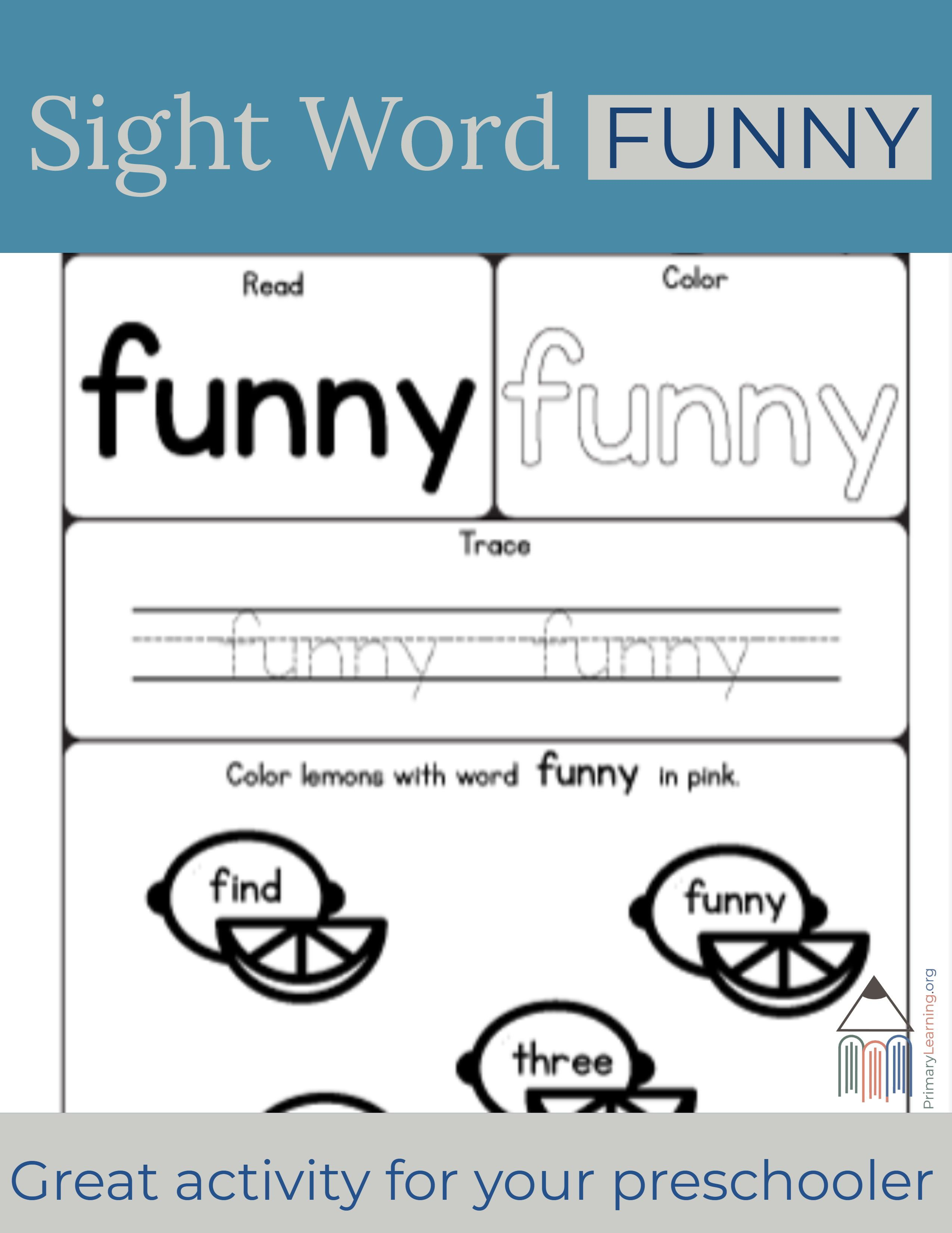 Sight Word Funny Worksheet
