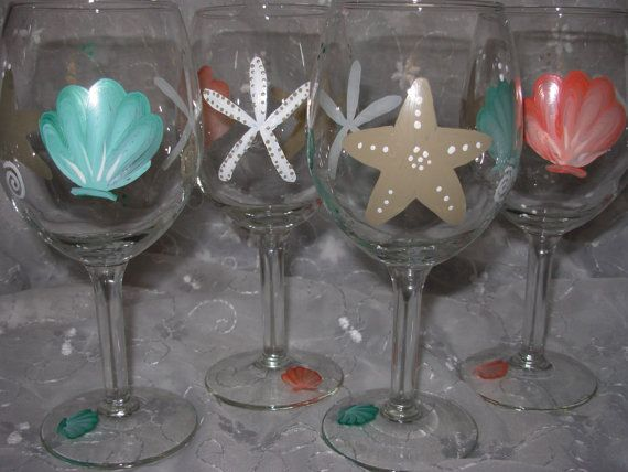 beach wine glass | Starfish and Shells Hand Painted Wine by BedOfRosesBoutique