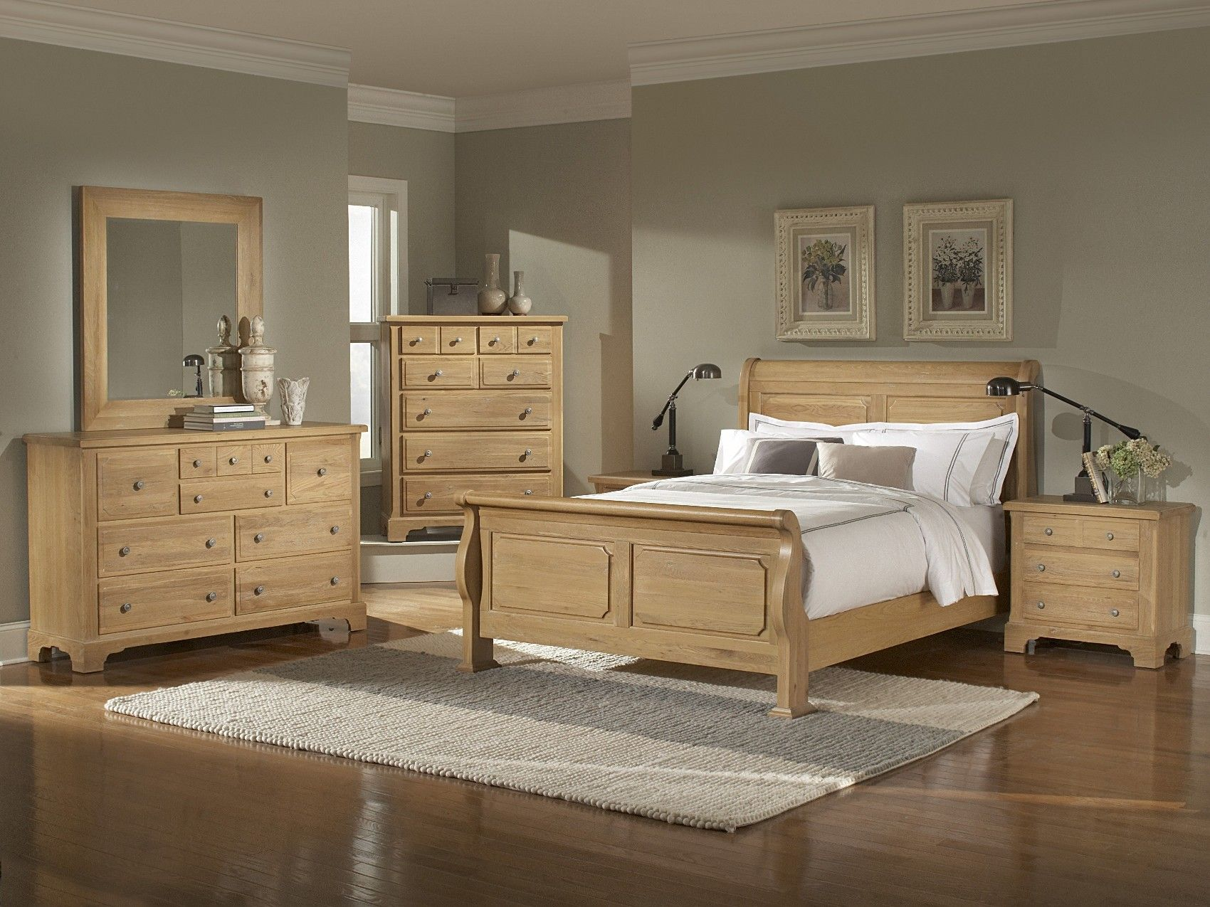 oak bedroom furniture sets |  washed oak queen sleigh bedroom
