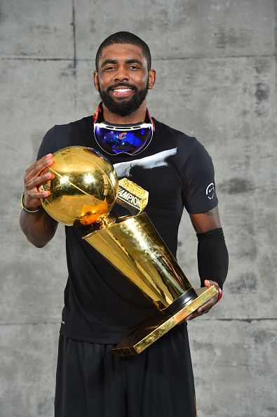 Kyrie Irving of the Cleveland Cavaliers poses for a portrait after winning  the NBA Championship against the Golden State Warriors during the 2016 NBA. efd735c12