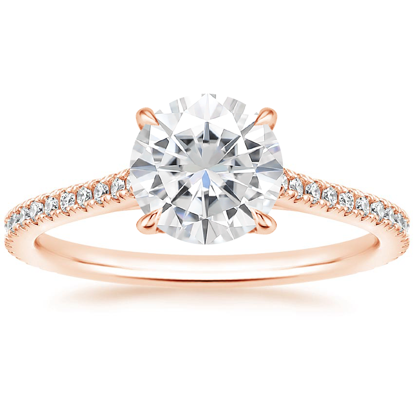 14k Rose Gold Moissanite Luxe Lissome Diamond Ring 1 5 Ct Tw In 2020 Classic Engagement Rings Rose Gold Diamond Ring Rose Gold Engagement Ring