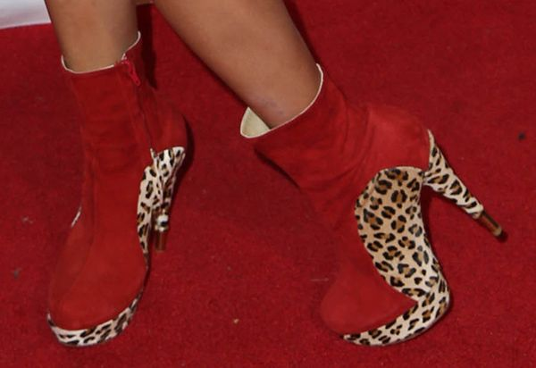 Bai Ling's Red Suede Booties with Leopard Prints, Hot or Not