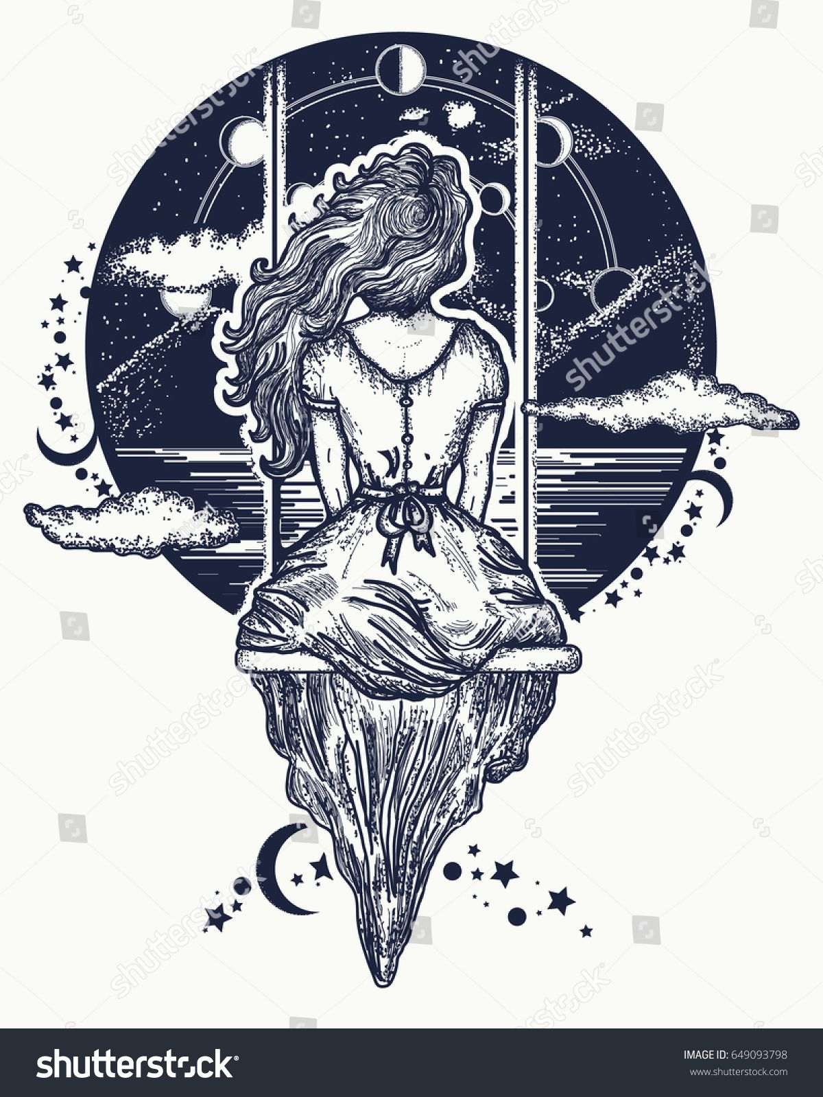 Girl On Swing Flies To Sky Tattoo Art Symbol Of Dreamlove