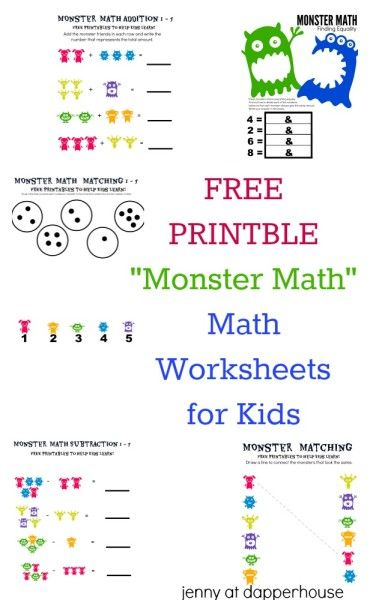 5 Free Printable Monster Math Worksheets For Kids Kids Math Worksheets Math Worksheets Monster Math