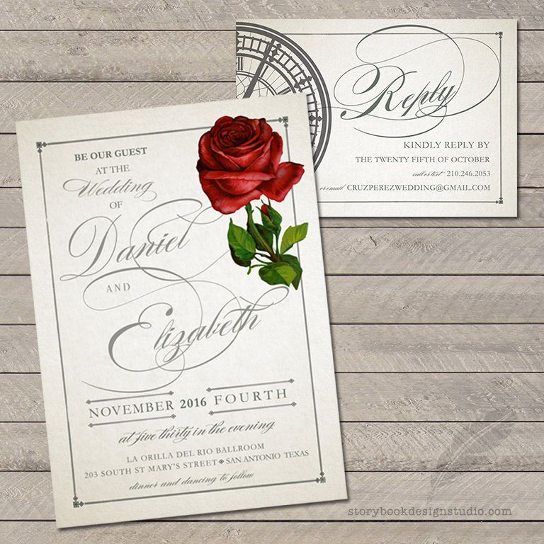 100 beauty and the beast wedding invitations rose tale as old as time printed
