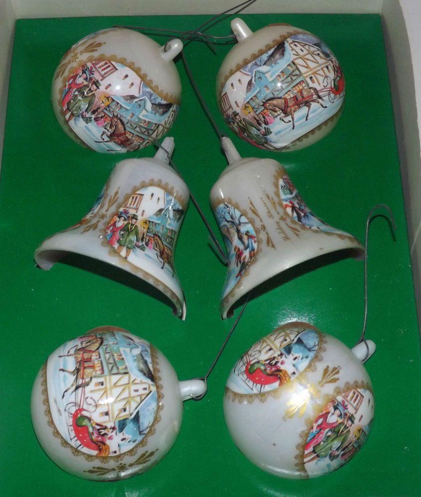 Bradford christmas ornaments - Vintage Bradford Unbreakable Plastic Christmas Ornaments 6 Iob Ebay