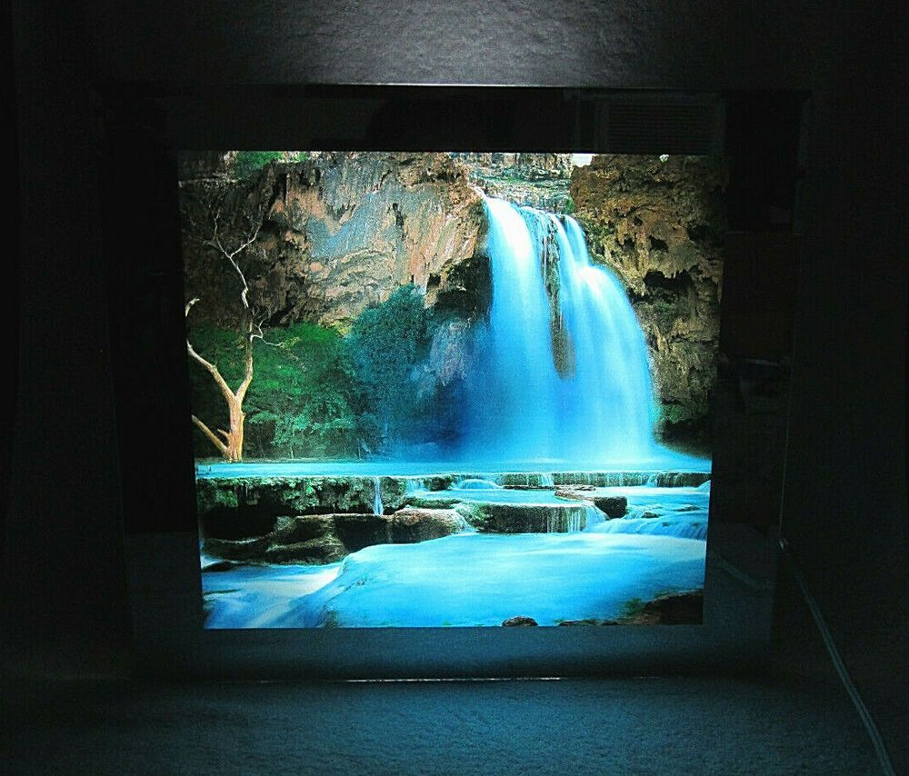 Lighted Motion Moving Waterfall Picture With Light And Sound Wall Art Decor Guc Ebay Waterfall Pictures Sound Wall Wall Decor Pictures