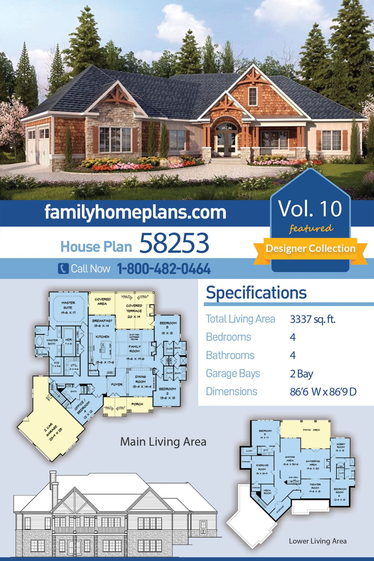 Craftsman Style House Plan 58253 With 4 Bed 4 Bath 2 Car Garage House Plans Craftsman Style House Plans Craftsman House Plan