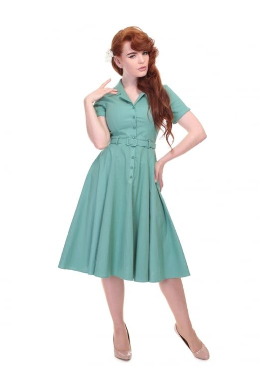 08a6a77540396 Collectif Vintage Caterina Plain Swing Dress - Collectif Vintage from  Collectif UK