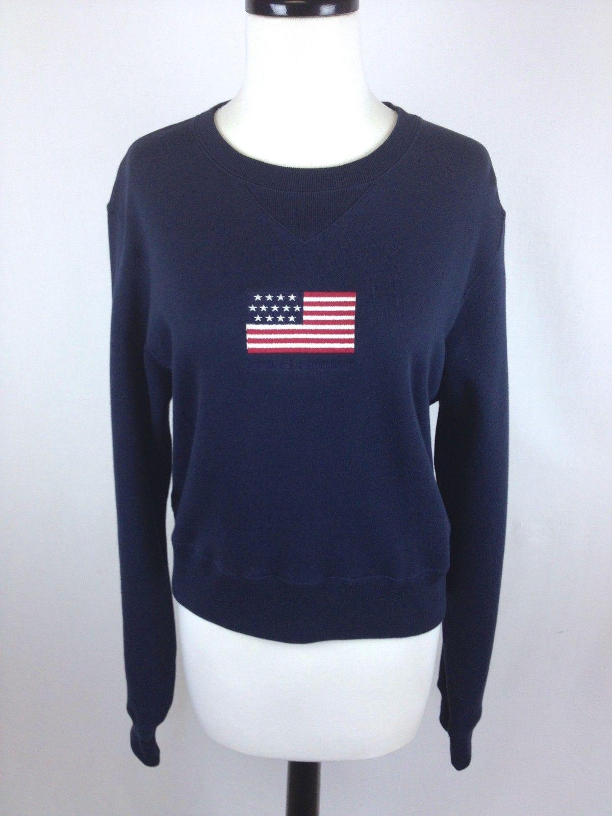 RALPH LAUREN Sweater AMERICAN Flag COTTON Navy Blue POLO SPORT ...