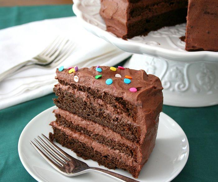 KatieSheaDesign Chocolate Layer Cake with Chocolate Sour Cream