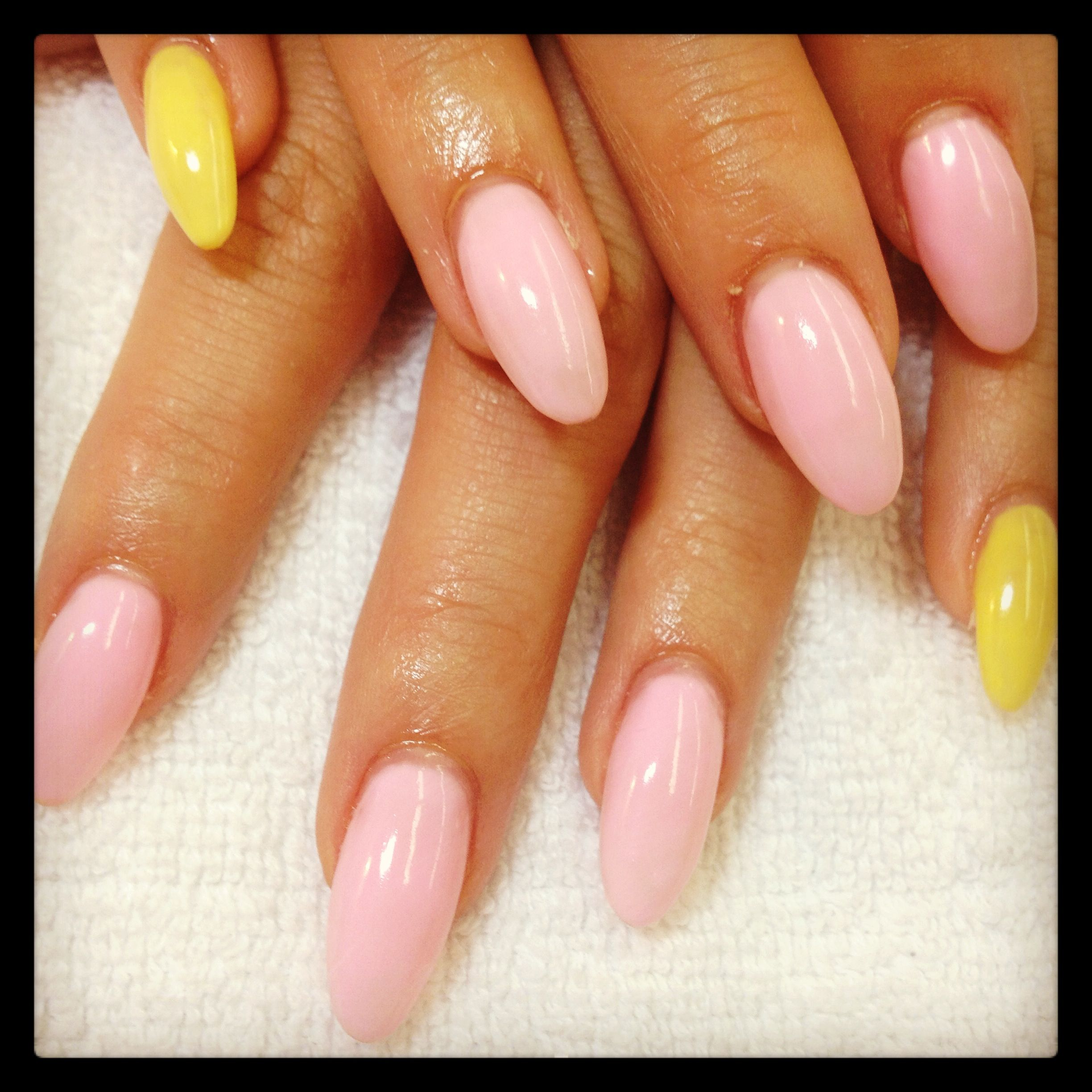 Pink and yellow almond nails | Meg's nail designs ... Almond Nagels