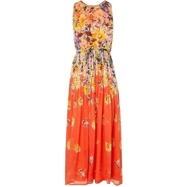 Thea Orange Floral Midi Dress ❤ liked on Polyvore featuring dresses, red orange dress, calf length dresses, floral pattern dress, mid calf dresses and orange dress