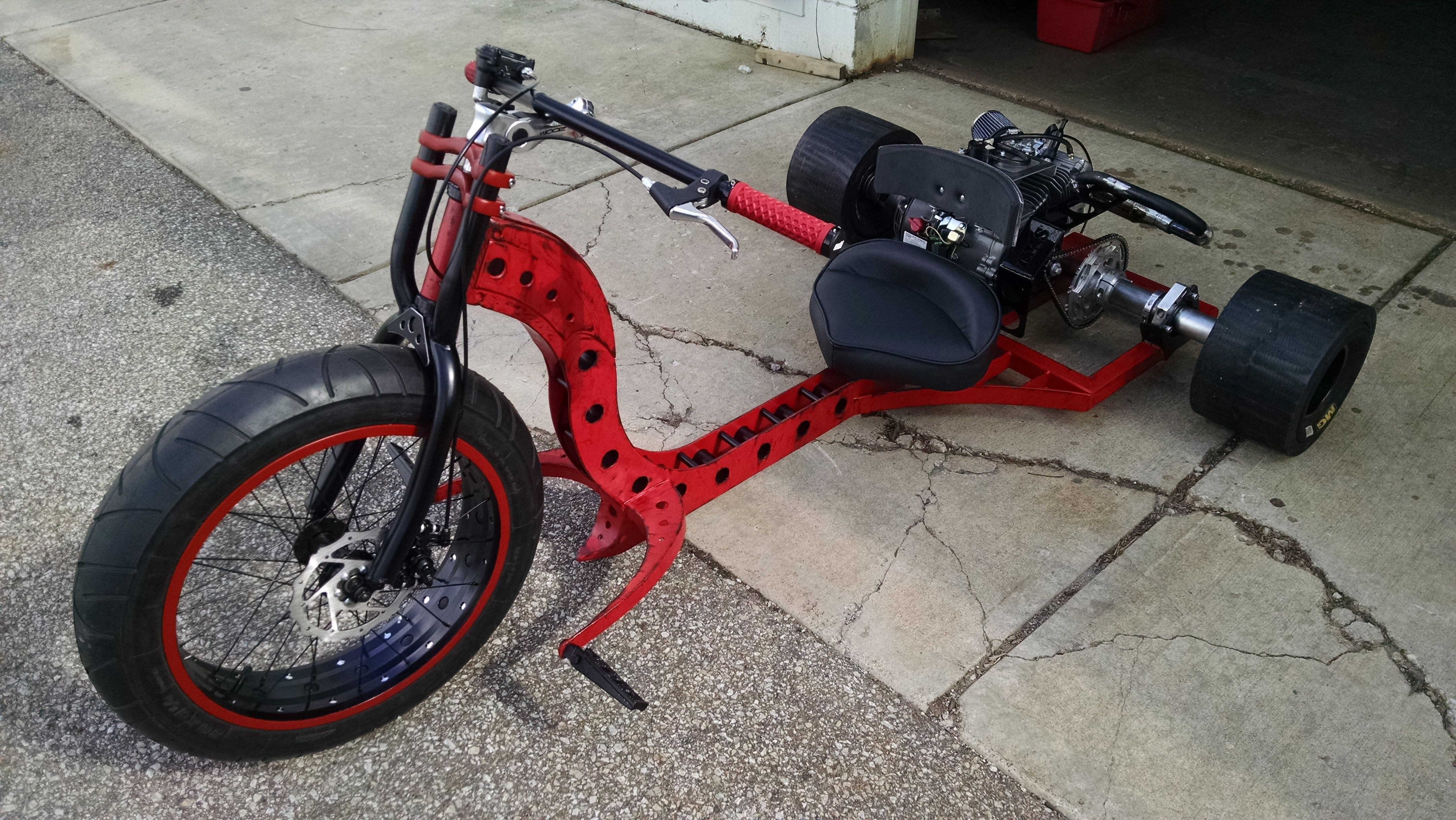 Custom fat axle motorized drift trike   Funky fork design