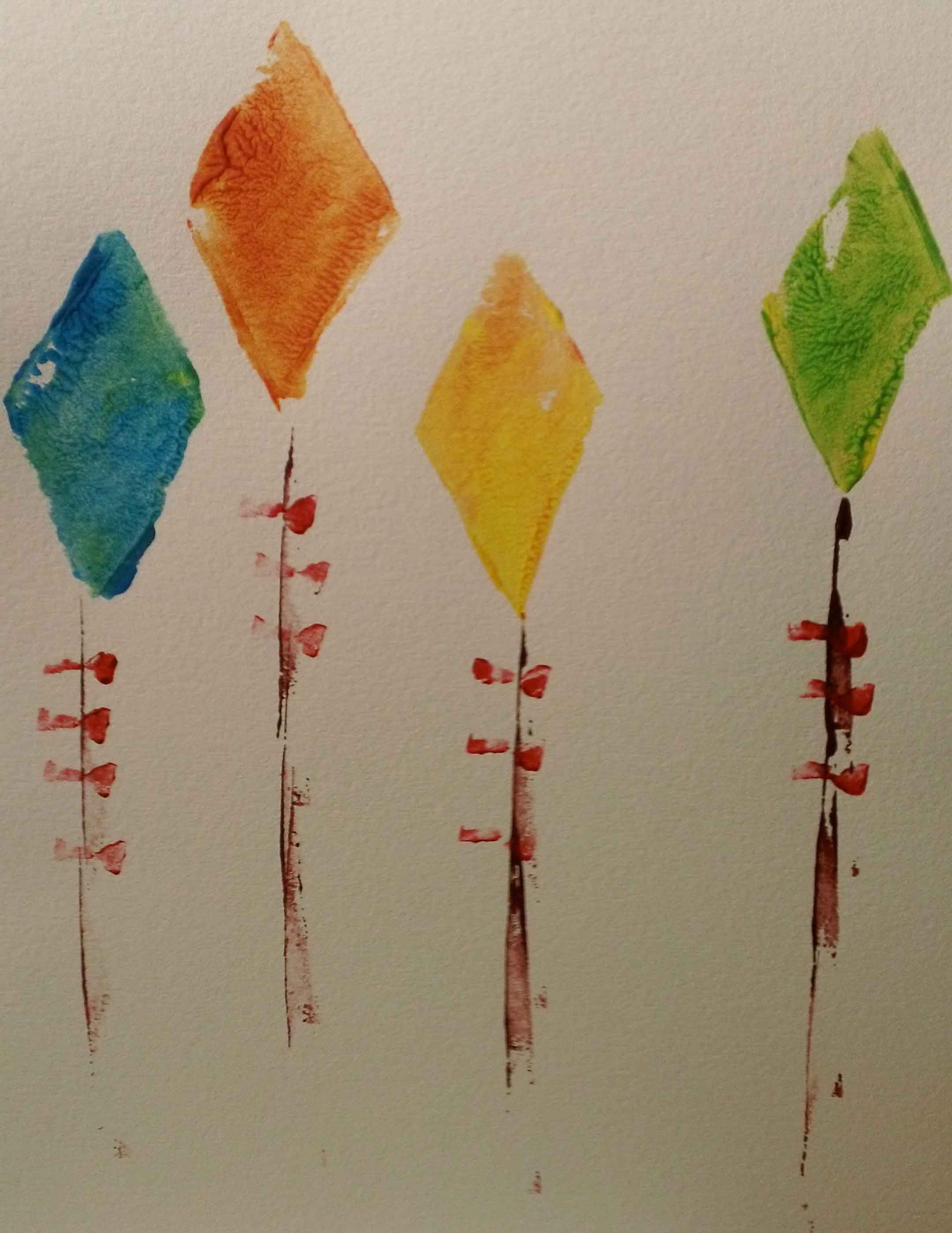 Kites Stamped With Potatos Eco Friendly Crafts At Okidsart