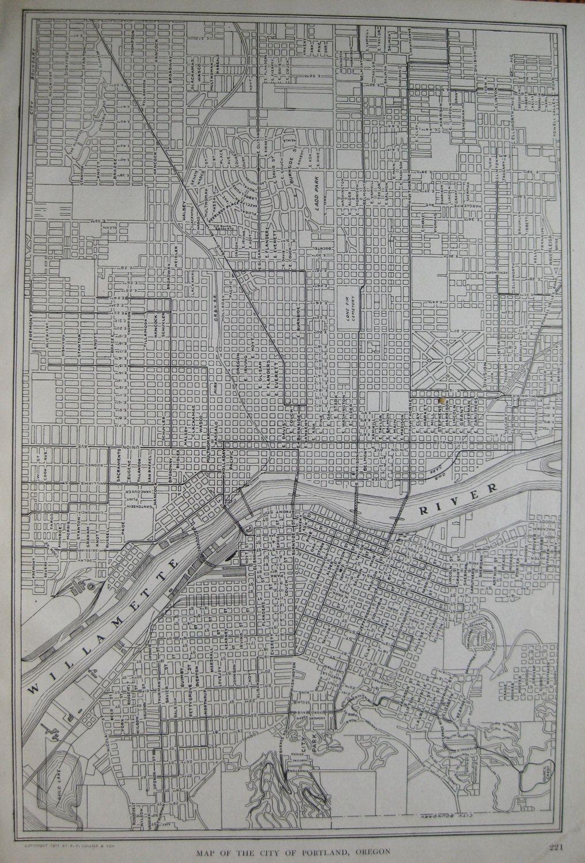 1923 Antique PORTLAND Map of Portland Oregon Vintage 1900s Black and ...