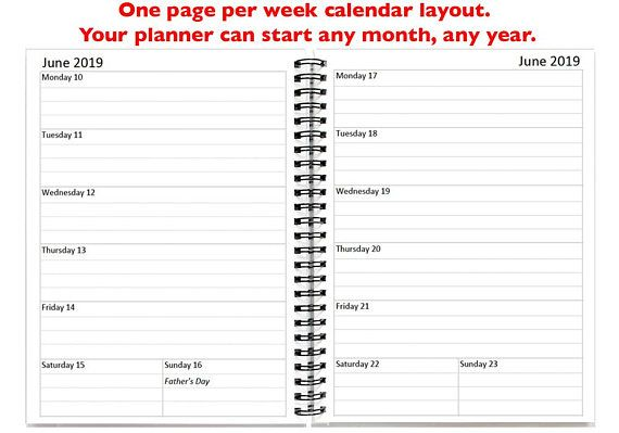 Image result for 2019 calendar one week per page misc Pinterest