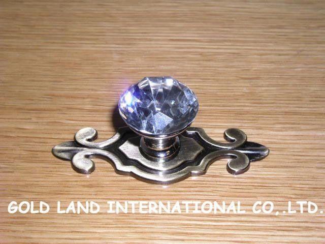 L74mm Free shipping K9 crystal glass furniture handle cabinet door handle wardrobe $180.00