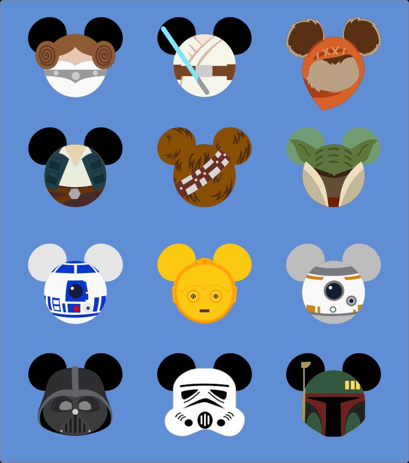 Here Princess Leia, Luke Skywalker, Han Solo, Chewbacca