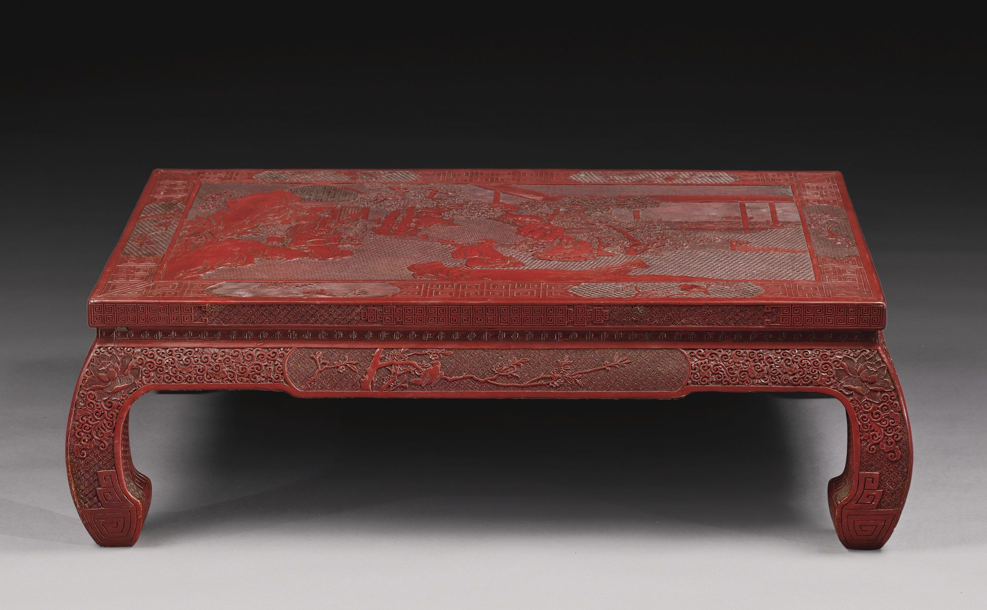 A Carved Cinnabar Lacquer Low Table Kangzhuo Br Qing Dynasty 19th Century Lot Ancient China Colorful Furniture Furniture [ 1237 x 2000 Pixel ]