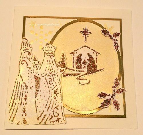 Handmade card. Textile Starlights, Sparkle Medium, Bearing Gifts stencil.